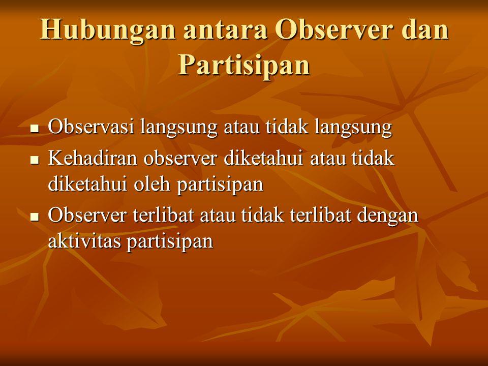 Hubungan antara Observer dan Partisipan Observasi langsung atau tidak langsung Observasi langsung atau tidak langsung Kehadiran observer diketahui atau tidak diketahui oleh partisipan Kehadiran observer diketahui atau tidak diketahui oleh partisipan Observer terlibat atau tidak terlibat dengan aktivitas partisipan Observer terlibat atau tidak terlibat dengan aktivitas partisipan