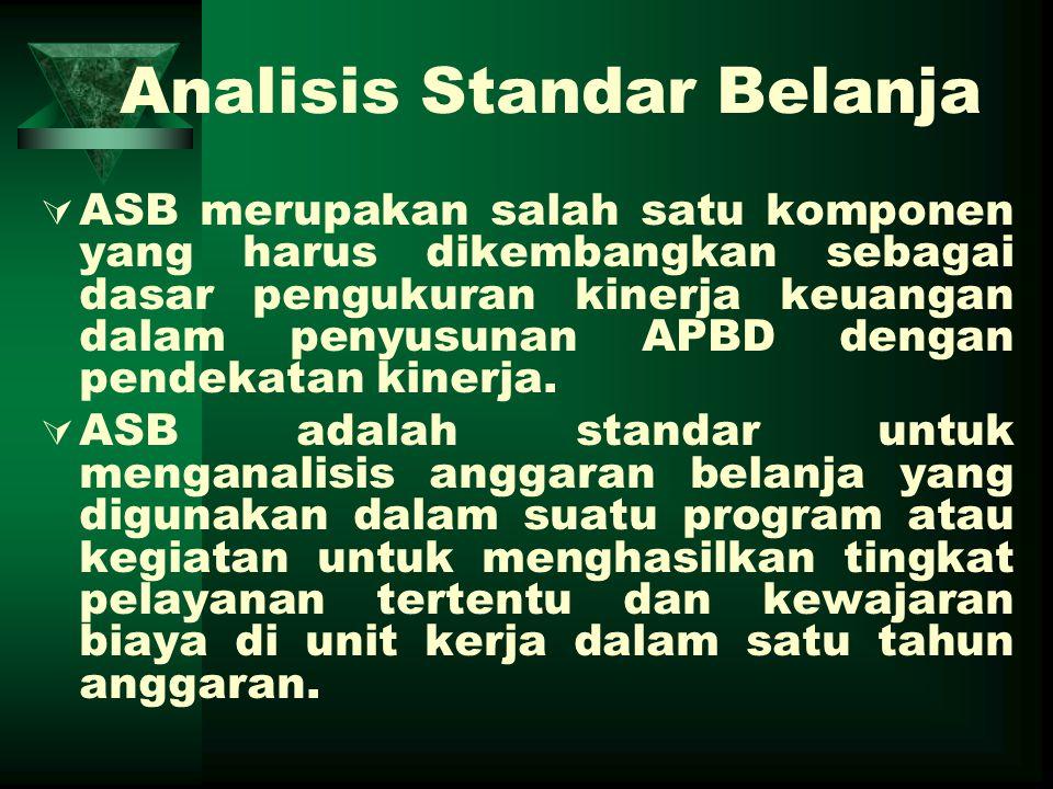 Analisis Standar Belanja  ASB merupakan salah satu komponen yang harus dikembangkan sebagai dasar pengukuran kinerja keuangan dalam penyusunan APBD d
