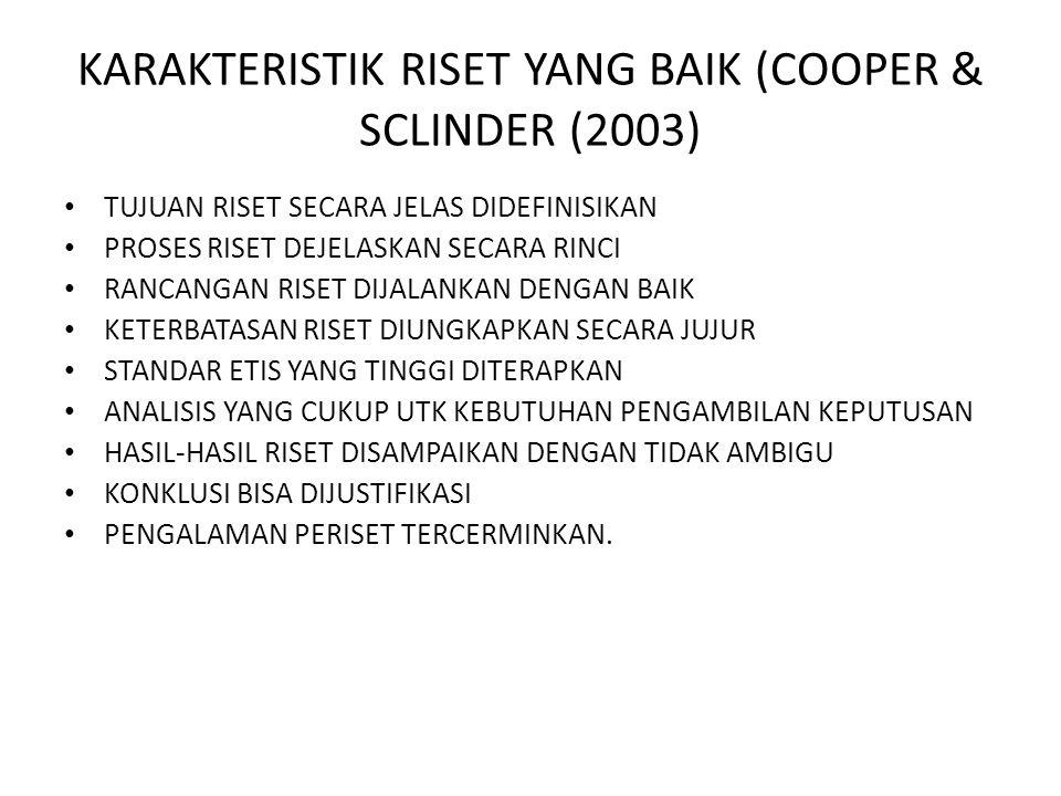 KARAKTERISTIK RISET YANG BAIK (COOPER & SCLINDER (2003) TUJUAN RISET SECARA JELAS DIDEFINISIKAN PROSES RISET DEJELASKAN SECARA RINCI RANCANGAN RISET D