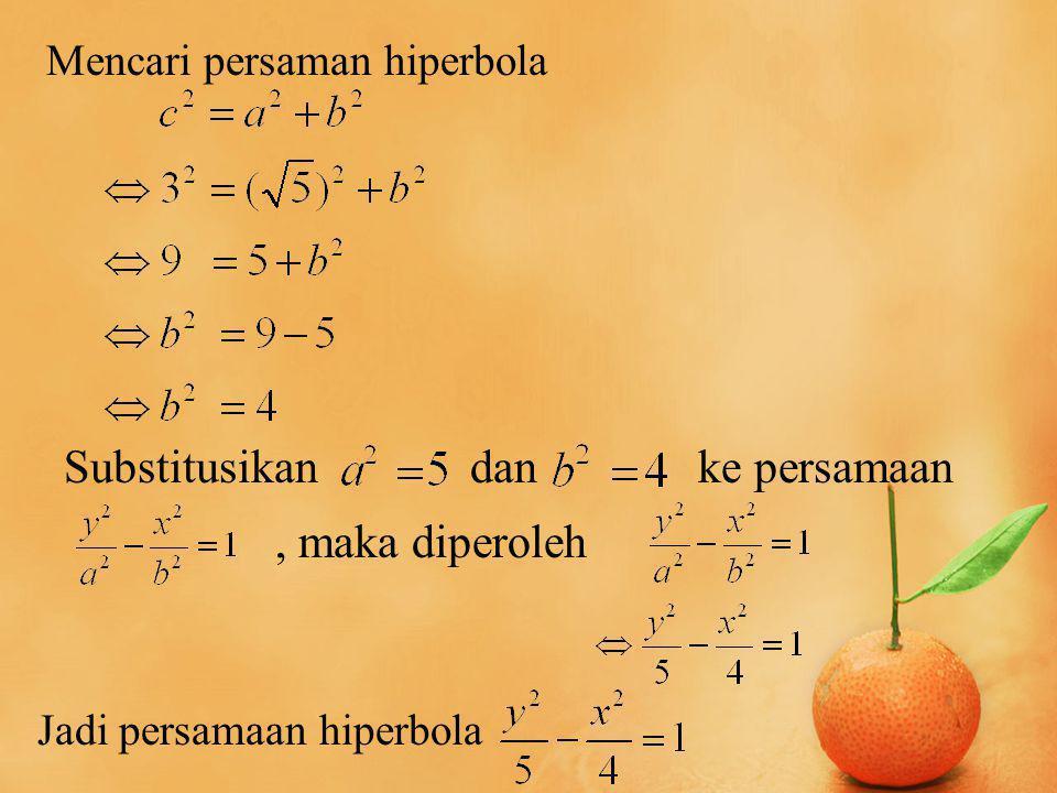 Substitusikan danke persamaan, maka diperoleh Mencari persaman hiperbola Jadi persamaan hiperbola