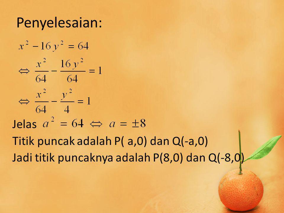 Penyelesaian: Jelas Titik puncak adalah P( a,0) dan Q(-a,0) Jadi titik puncaknya adalah P(8,0) dan Q(-8,0)