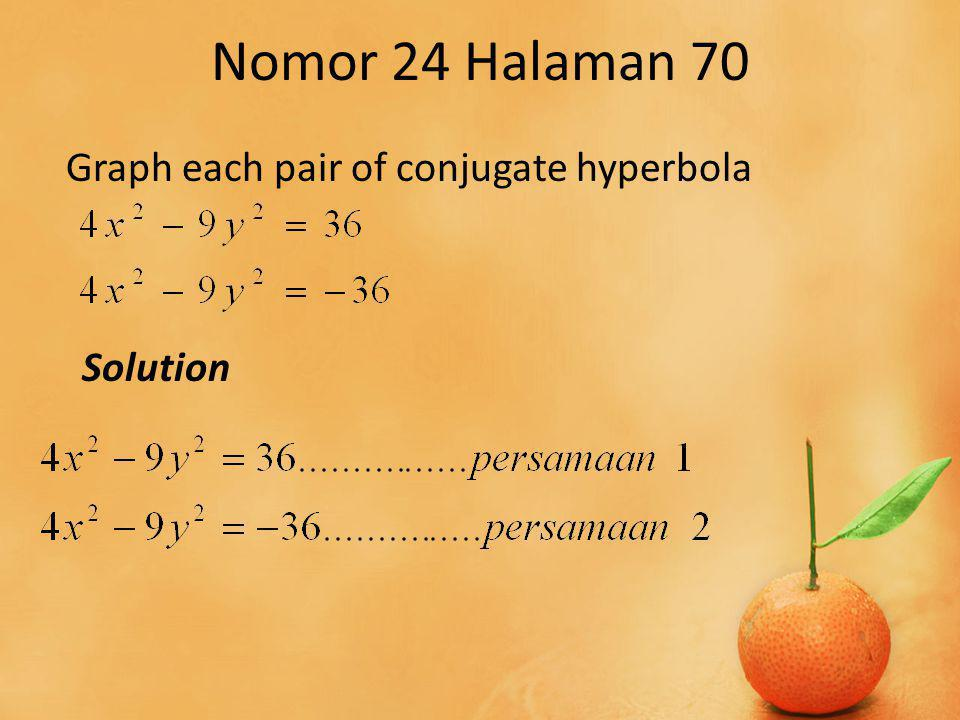 Nomor 24 Halaman 70 Graph each pair of conjugate hyperbola Solution