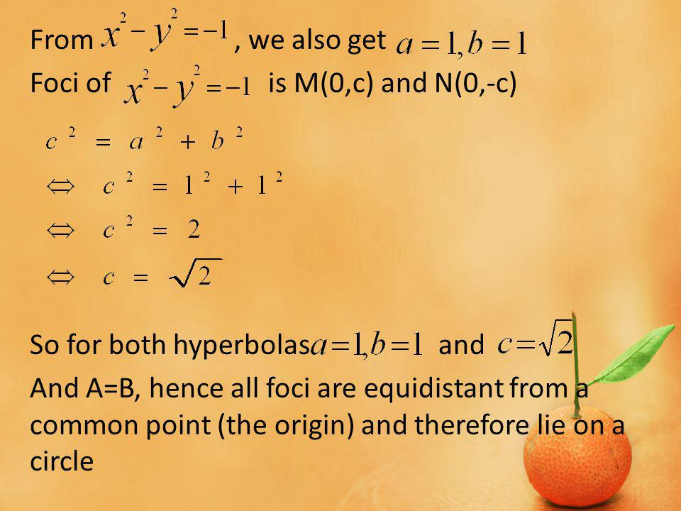 From, we also get Foci of is M(0,c) and N(0,-c) So for both hyperbolas and And A=B, hence all foci are equidistant from a common point (the origin) and therefore lie on a circle