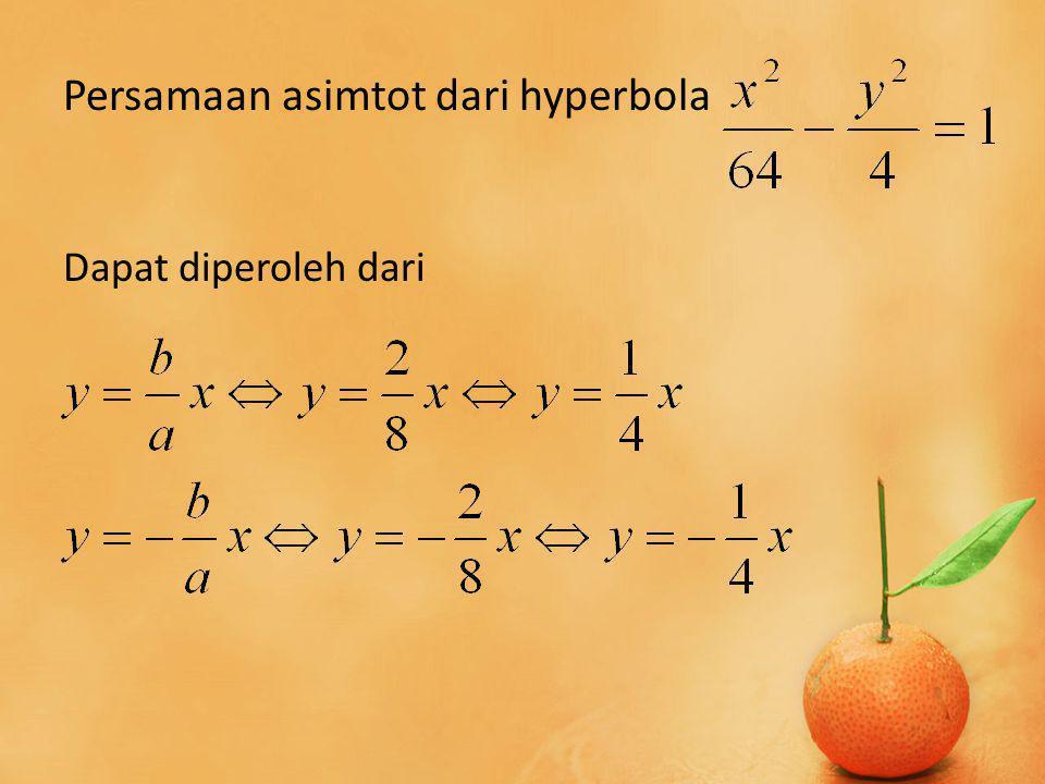 Persamaan asimtot dari hyperbola Dapat diperoleh dari