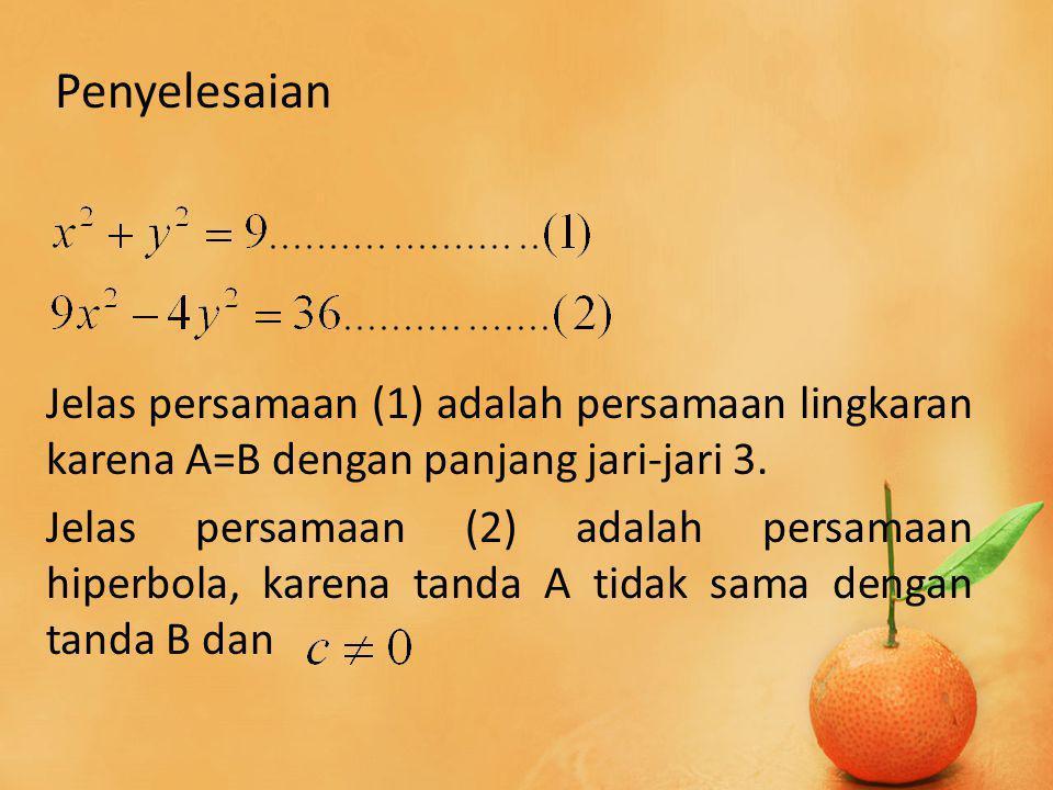Jelas Persamaan (2) : Titik puncak P(a,0) dan Q(-a,0).