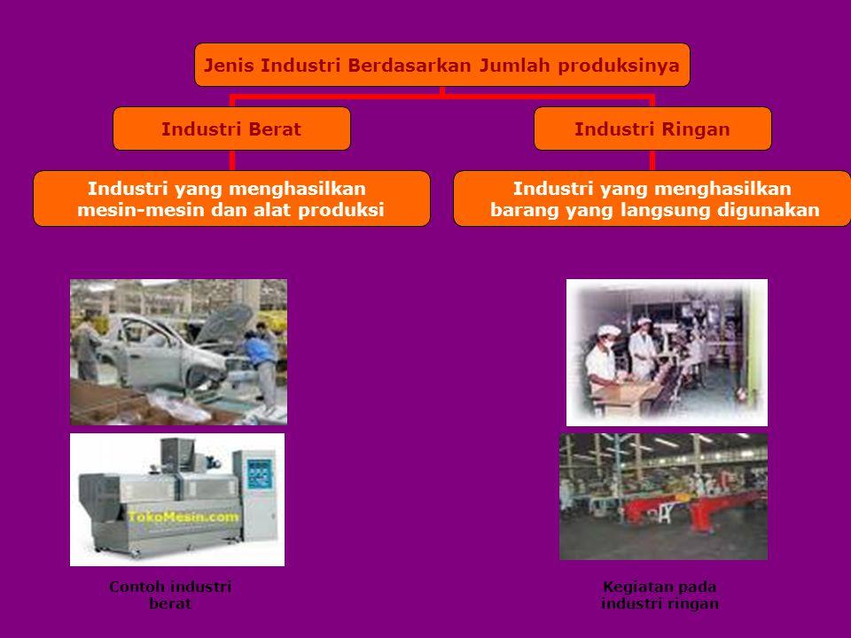 Jenis Industri Berdasarkan Jumlah produksinya Industri Berat Industri yang menghasilkan mesin-mesin dan alat produksi Industri Ringan Industri yang me