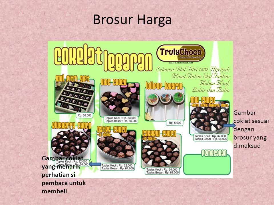 Brosur Harga Gambar coklat yang menarik perhatian si pembaca untuk membeli Gambar coklat sesuai dengan brosur yang dimaksud