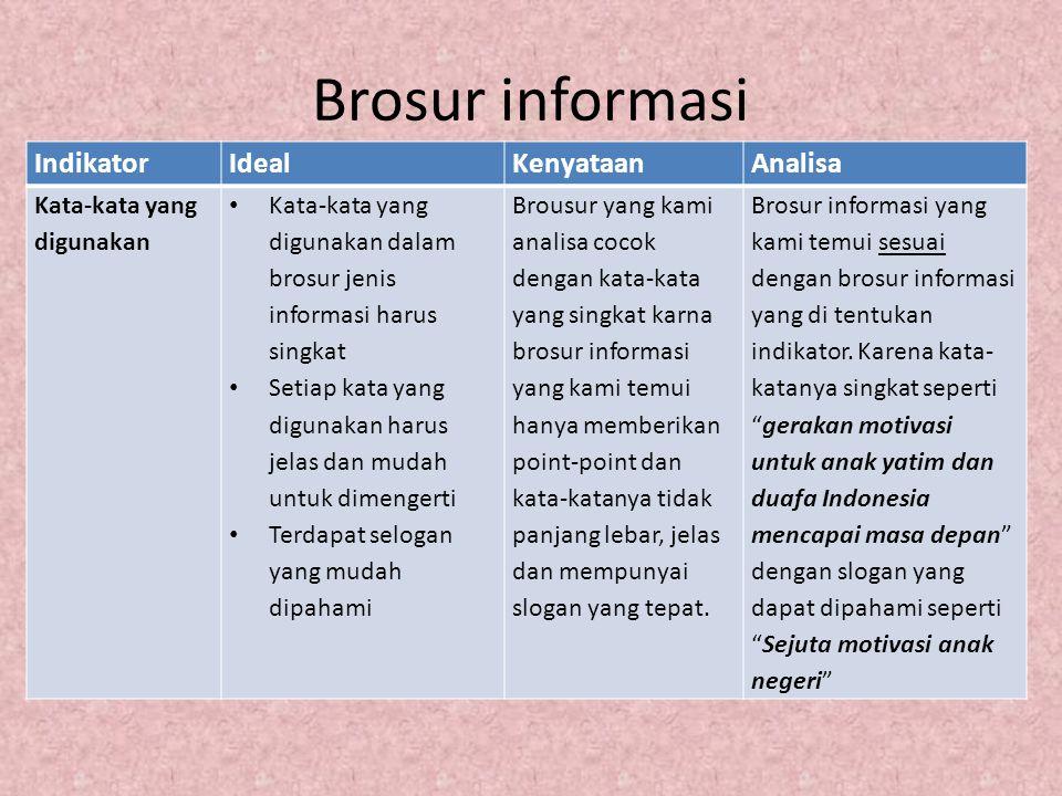 Brosur informasi IndikatorIdealKenyataanAnalisa Kata-kata yang digunakan Kata-kata yang digunakan dalam brosur jenis informasi harus singkat Setiap ka