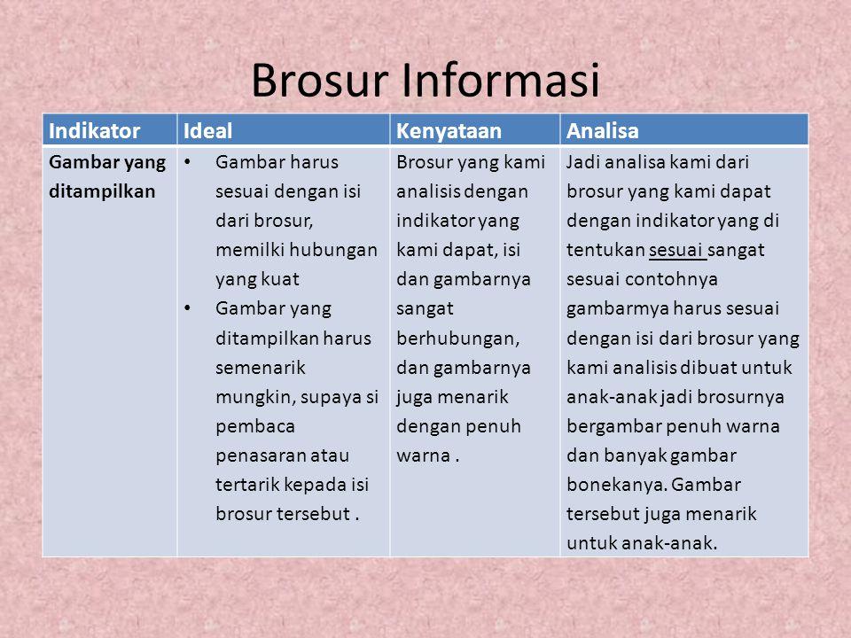 Brosur Informasi IndikatorIdealKenyataanAnalisa Gambar yang ditampilkan Gambar harus sesuai dengan isi dari brosur, memilki hubungan yang kuat Gambar