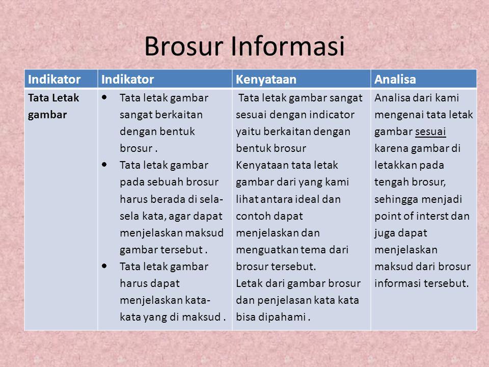 Contoh Brosur Informasi Gambar tidak menutupi informasi, berada disela-sela antara kata dan menjelaskan maksud brodur
