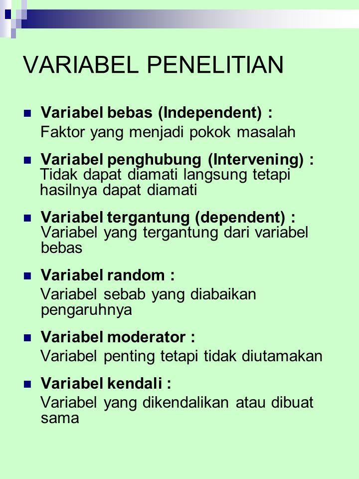 VARIABEL PENELITIAN Variabel bebas (Independent) : Faktor yang menjadi pokok masalah Variabel penghubung (Intervening) : Tidak dapat diamati langsung