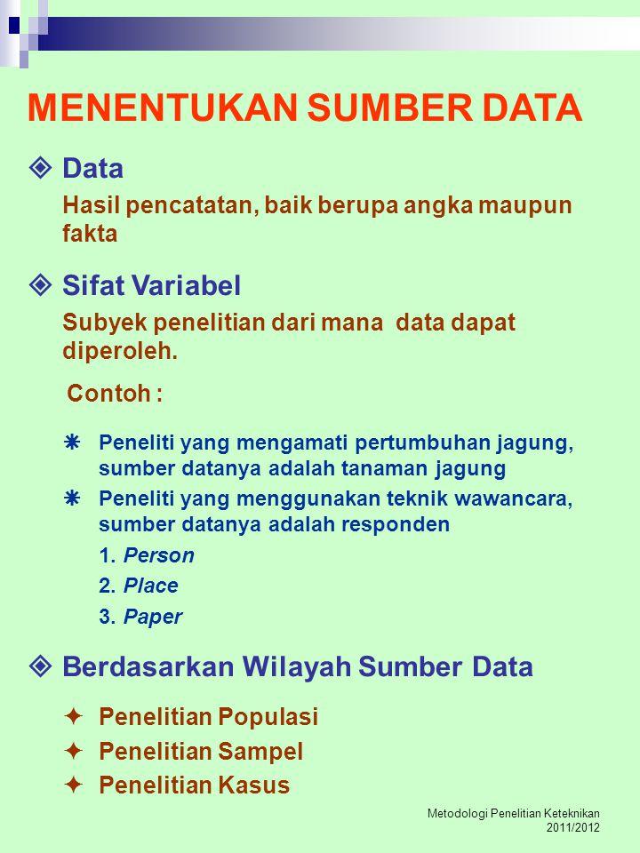 Metodologi Penelitian Keteknikan 2011/2012 MENENTUKAN SUMBER DATA  Data Hasil pencatatan, baik berupa angka maupun fakta  Sifat Variabel Subyek pene