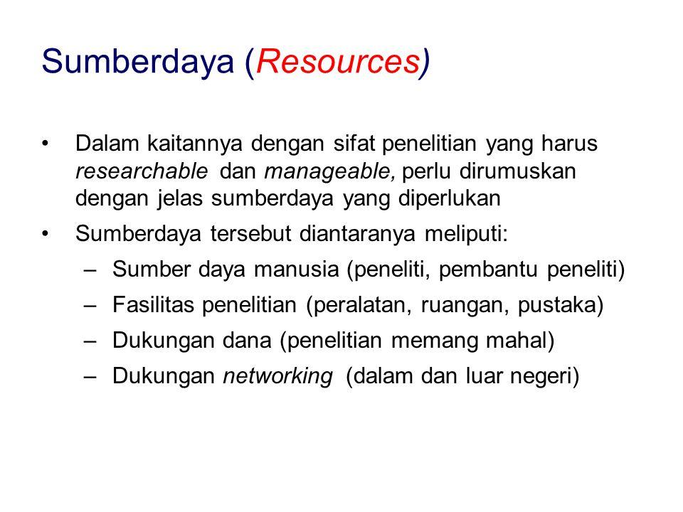 Dalam kaitannya dengan sifat penelitian yang harus researchable dan manageable, perlu dirumuskan dengan jelas sumberdaya yang diperlukan Sumberdaya tersebut diantaranya meliputi: –Sumber daya manusia (peneliti, pembantu peneliti) –Fasilitas penelitian (peralatan, ruangan, pustaka) –Dukungan dana (penelitian memang mahal) –Dukungan networking (dalam dan luar negeri) Sumberdaya (Resources)