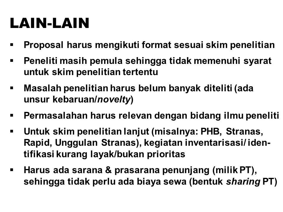 LAIN-LAIN  Proposal harus mengikuti format sesuai skim penelitian  Peneliti masih pemula sehingga tidak memenuhi syarat untuk skim penelitian terten