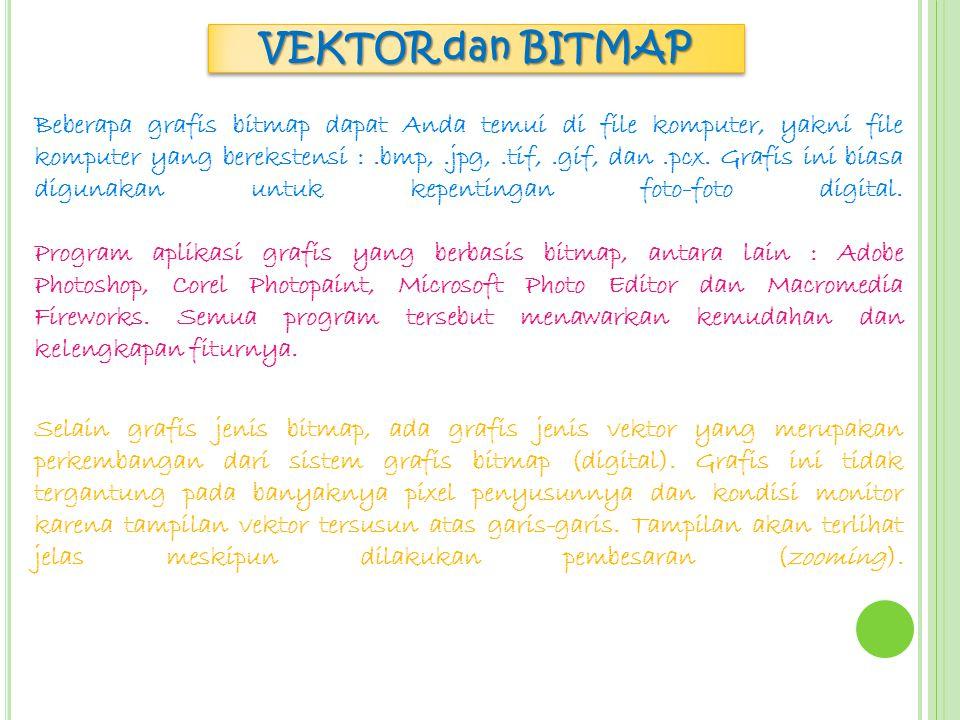VEKTOR dan BITMAP Ketajaman warna dan detail gambar pada tampilan bitmap bergantung pada banyaknya pixel warna atau resolusi yang membentuk gambar tersebut.