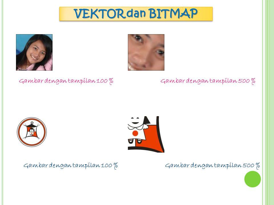 VEKTOR dan BITMAP VektorBitmap 1. Gambar tetap jelas ketika di perbesar1. Gambar kurang jelas ketika di perbesar 2. Tersusun oleh garis dan kurva2. Te