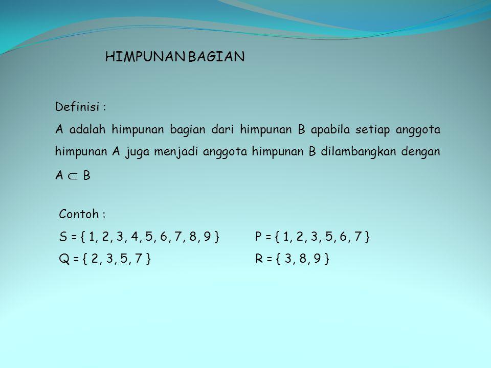 HIMPUNAN BAGIAN Definisi : A adalah himpunan bagian dari himpunan B apabila setiap anggota himpunan A juga menjadi anggota himpunan B dilambangkan den