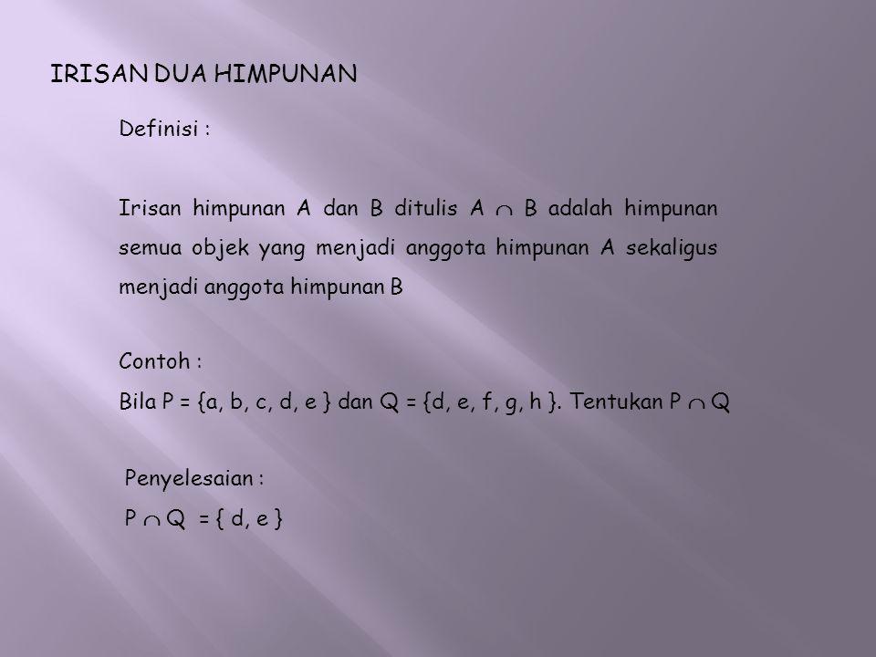 IRISAN DUA HIMPUNAN Definisi : Irisan himpunan A dan B ditulis A  B adalah himpunan semua objek yang menjadi anggota himpunan A sekaligus menjadi ang