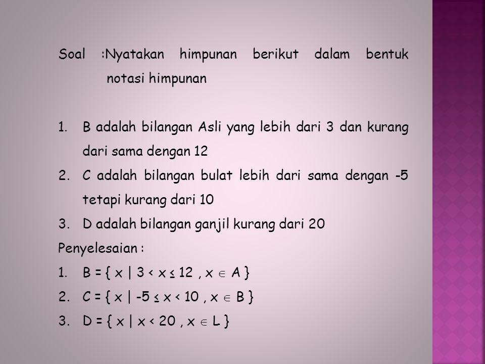 Keanggotaan Suatu Himpunan : Contoh: A = { 1, 3, 5, 7, 9 } B = { 2, 4, 6, 8, 10 } 1  A 2  A 1  B2  B 3  A 4  A 3  B4  B 5  A 6  A 5  B6  B 7  A 8  A 7  B8  B 9  A 10  A 9  B10  B Banyaknya anggota himpunan A dilambangkan dengan n(A) = 5 Banyaknya anggota himpunan B dilambangkan dengan n(B) = 5 Lambang  dibaca elemen atau anggota Lambang  dibaca bukan elemen atau bukan anggota