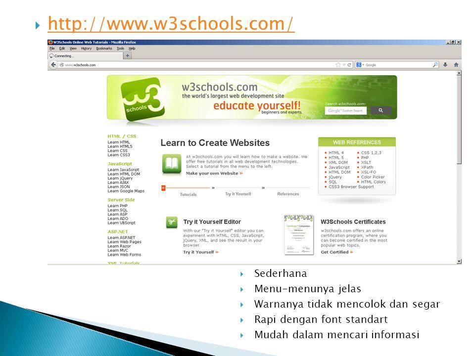  http://www.w3schools.com/ http://www.w3schools.com/  Sederhana  Menu-menunya jelas  Warnanya tidak mencolok dan segar  Rapi dengan font standart  Mudah dalam mencari informasi