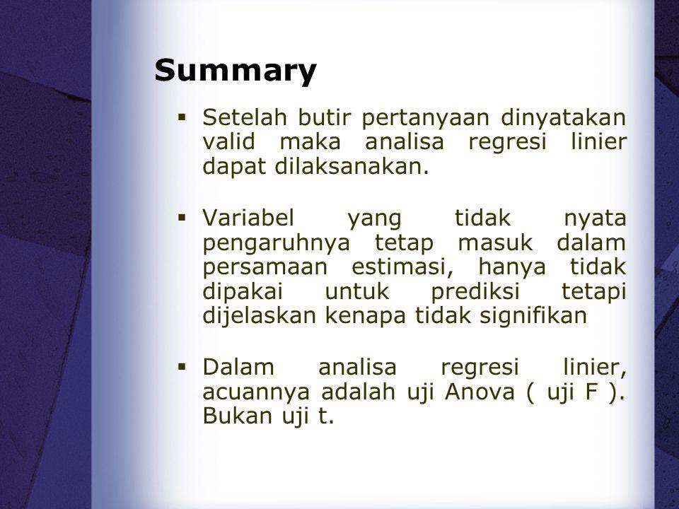 Summary  Setelah butir pertanyaan dinyatakan valid maka analisa regresi linier dapat dilaksanakan.  Variabel yang tidak nyata pengaruhnya tetap masu