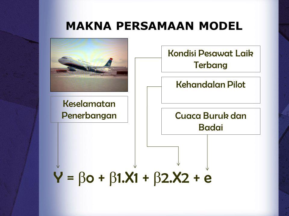 MAKNA PERSAMAAN MODEL Keselamatan Penerbangan Kondisi Pesawat Laik Terbang Cuaca Buruk dan Badai Kehandalan Pilot Y = β o + β 1.X1 + β 2.X2 + e
