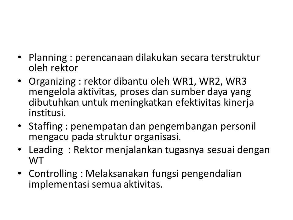 Planning : perencanaan dilakukan secara terstruktur oleh rektor Organizing : rektor dibantu oleh WR1, WR2, WR3 mengelola aktivitas, proses dan sumber