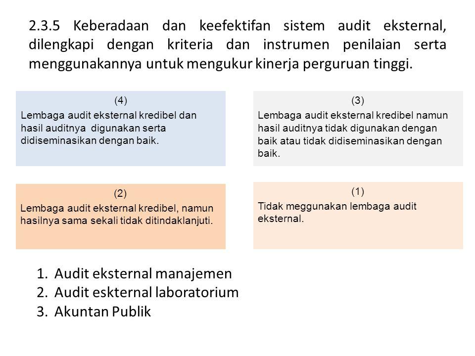 2.3.5 Keberadaan dan keefektifan sistem audit eksternal, dilengkapi dengan kriteria dan instrumen penilaian serta menggunakannya untuk mengukur kinerj