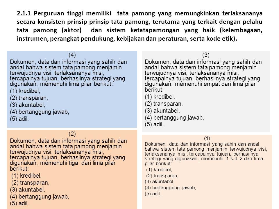 2.1.1 Perguruan tinggi memiliki tata pamong yang memungkinkan terlaksananya secara konsisten prinsip-prinsip tata pamong, terutama yang terkait dengan