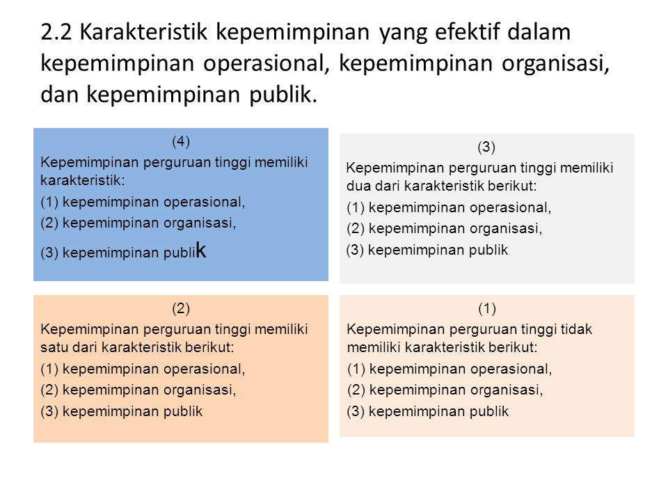 Kepemimpinan operasional : kemampuan menjabarkan visi, misi dan tujuan strategis dalam renstra dan RKAT Kepemimpinan organisasional : pemahaman tata kerja unit dalam organisasi (WT, tata kerja organisasi, mekanisme /prosedur kerja) Kepemimpinan publik : kiprah pimpinan di masyarakat.