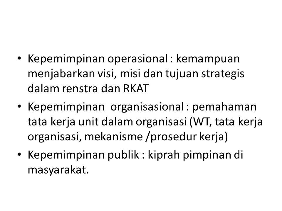 Kepemimpinan operasional : kemampuan menjabarkan visi, misi dan tujuan strategis dalam renstra dan RKAT Kepemimpinan organisasional : pemahaman tata k
