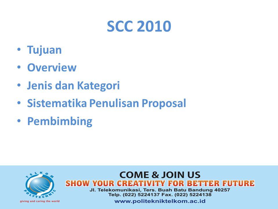 SCC 2010 Tujuan Overview Jenis dan Kategori Sistematika Penulisan Proposal Pembimbing