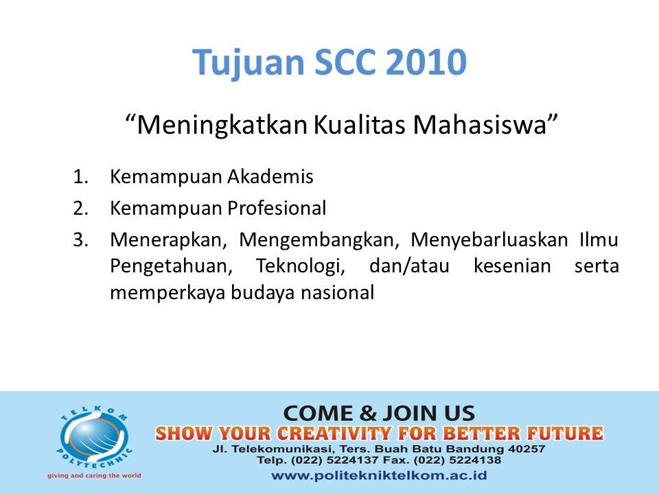 Tujuan SCC 2010 Meningkatkan Kualitas Mahasiswa 1.Kemampuan Akademis 2.Kemampuan Profesional 3.Menerapkan, Mengembangkan, Menyebarluaskan Ilmu Pengetahuan, Teknologi, dan/atau kesenian serta memperkaya budaya nasional