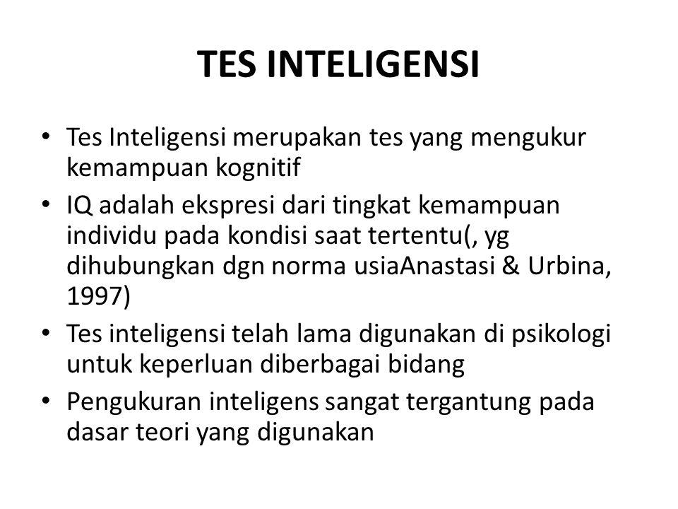 TES INTELIGENSI Tes Inteligensi merupakan tes yang mengukur kemampuan kognitif IQ adalah ekspresi dari tingkat kemampuan individu pada kondisi saat tertentu(, yg dihubungkan dgn norma usiaAnastasi & Urbina, 1997) Tes inteligensi telah lama digunakan di psikologi untuk keperluan diberbagai bidang Pengukuran inteligens sangat tergantung pada dasar teori yang digunakan