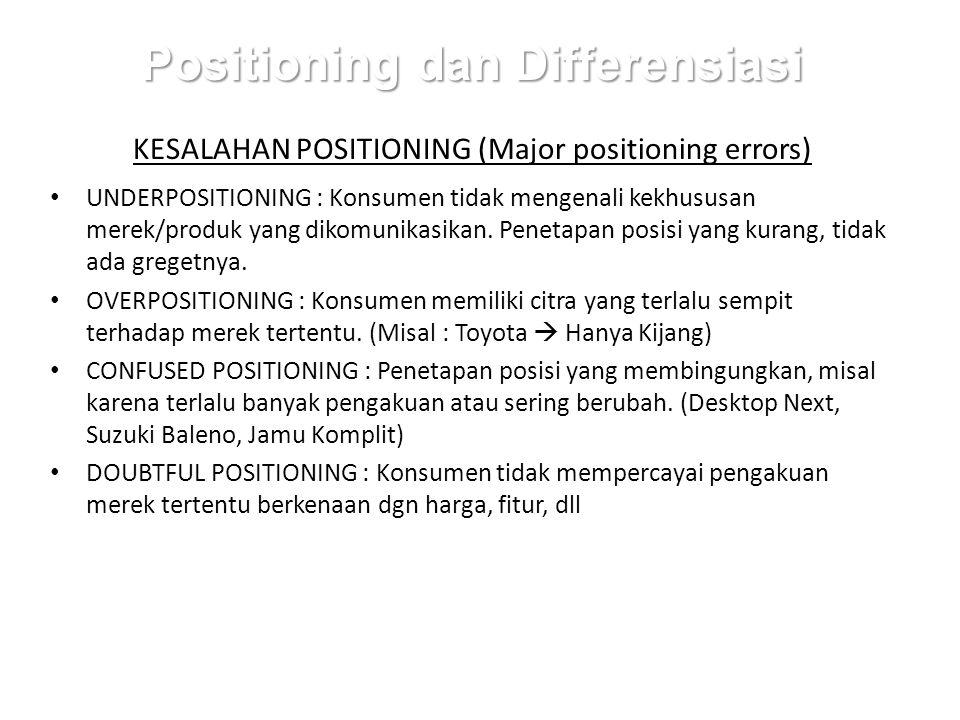Positioning dan Differensiasi KESALAHAN POSITIONING (Major positioning errors) UNDERPOSITIONING : Konsumen tidak mengenali kekhususan merek/produk yang dikomunikasikan.