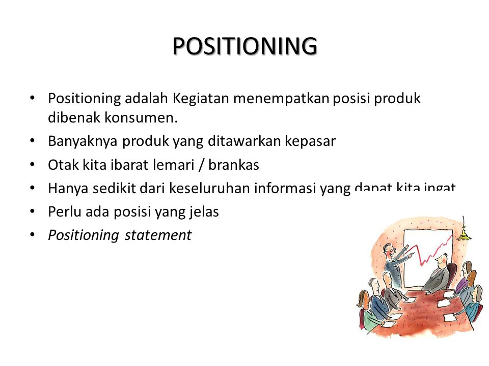 POSITIONING Positioning adalah Kegiatan menempatkan posisi produk dibenak konsumen.