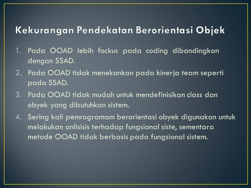 1.Pada OOAD lebih fockus pada coding dibandingkan dengan SSAD. 2.Pada OOAD tidak menekankan pada kinerja team seperti pada SSAD. 3.Pada OOAD tidak mud