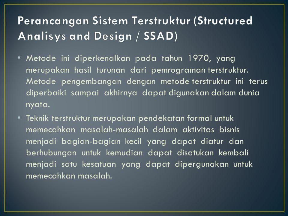 Metode ini diperkenalkan pada tahun 1970, yang merupakan hasil turunan dari pemrograman terstruktur. Metode pengembangan dengan metode terstruktur ini