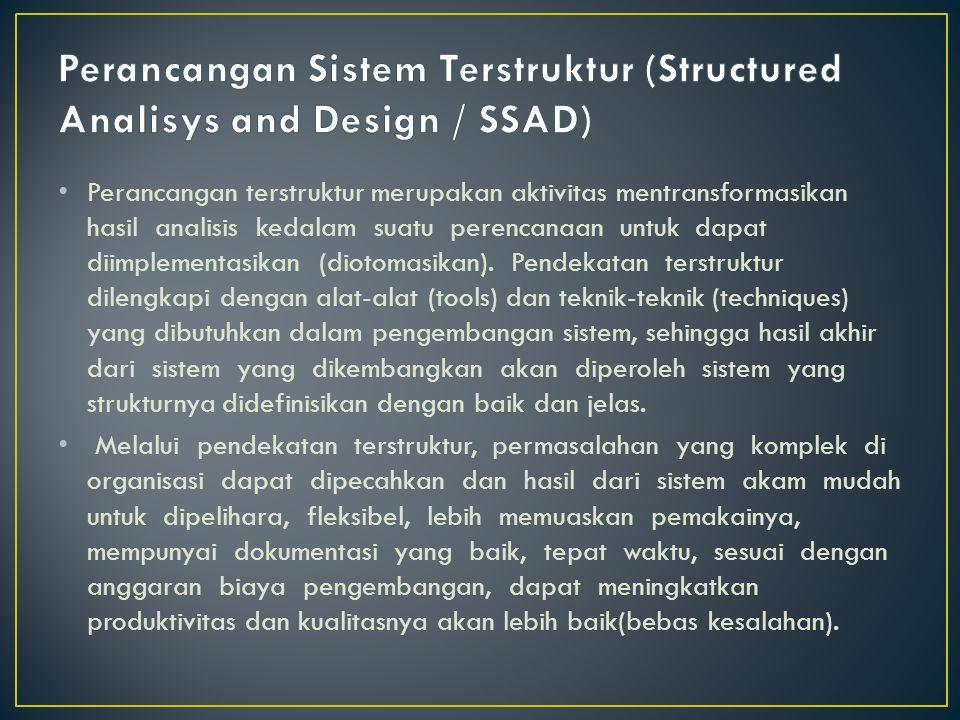 Perancangan terstruktur merupakan aktivitas mentransformasikan hasil analisis kedalam suatu perencanaan untuk dapat diimplementasikan (diotomasikan).
