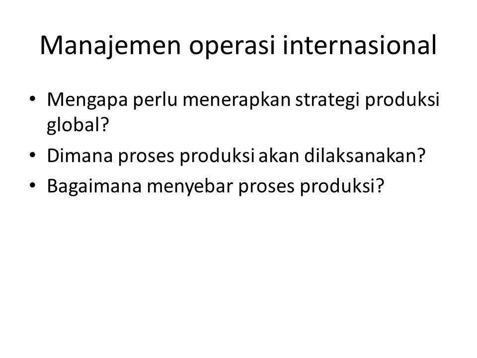 Manajemen operasi internasional Mengapa perlu menerapkan strategi produksi global? Dimana proses produksi akan dilaksanakan? Bagaimana menyebar proses