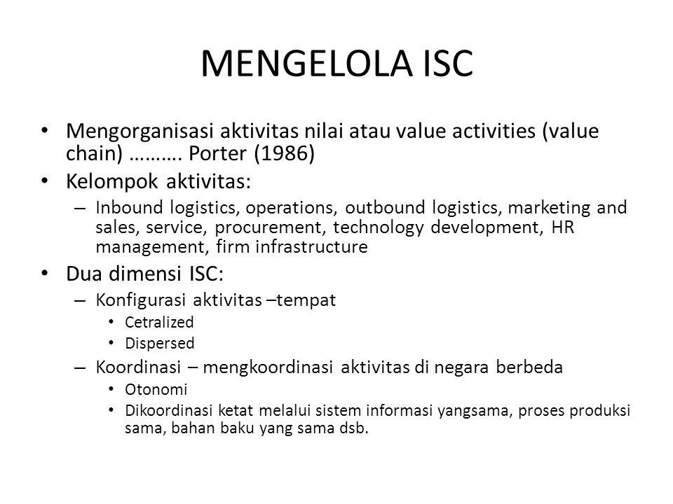 MENGELOLA ISC Mengorganisasi aktivitas nilai atau value activities (value chain) ………. Porter (1986) Kelompok aktivitas: – Inbound logistics, operation