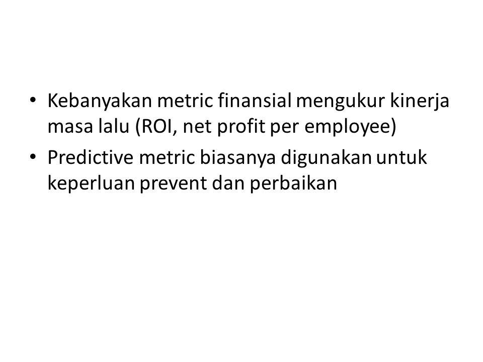 Kebanyakan metric finansial mengukur kinerja masa lalu (ROI, net profit per employee) Predictive metric biasanya digunakan untuk keperluan prevent dan