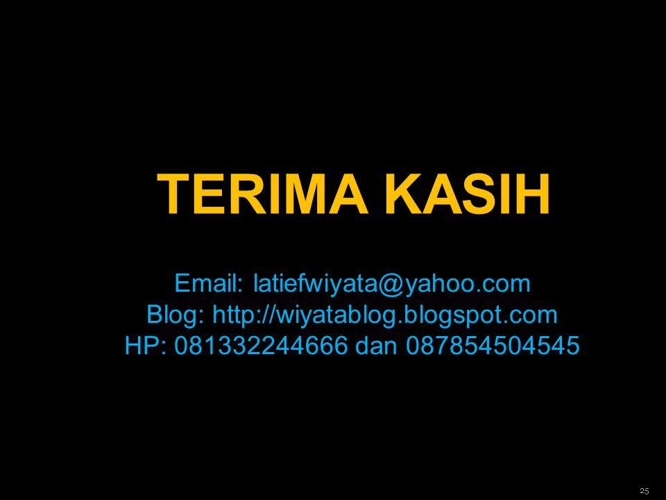 TERIMA KASIH 25 Email: latiefwiyata@yahoo.com Blog: http://wiyatablog.blogspot.com HP: 081332244666 dan 087854504545