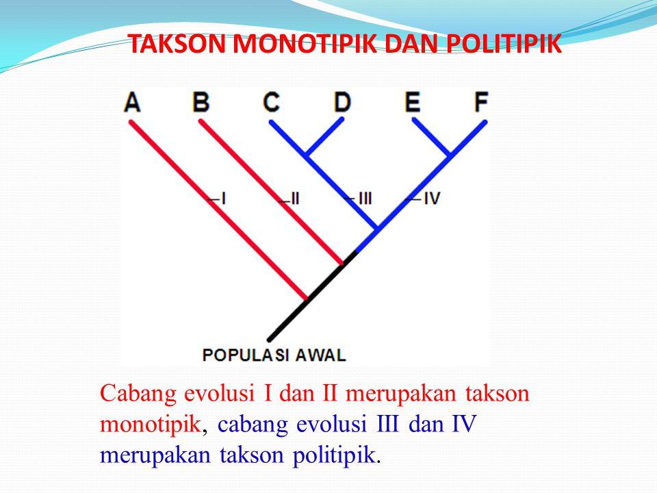 TAKSON MONOTIPIK DAN POLITIPIK Cabang evolusi I dan II merupakan takson monotipik, cabang evolusi III dan IV merupakan takson politipik.