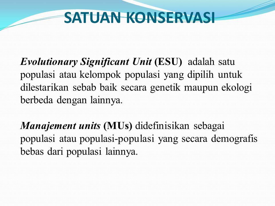 SATUAN KONSERVASI Evolutionary Significant Unit (ESU) adalah satu populasi atau kelompok populasi yang dipilih untuk dilestarikan sebab baik secara ge