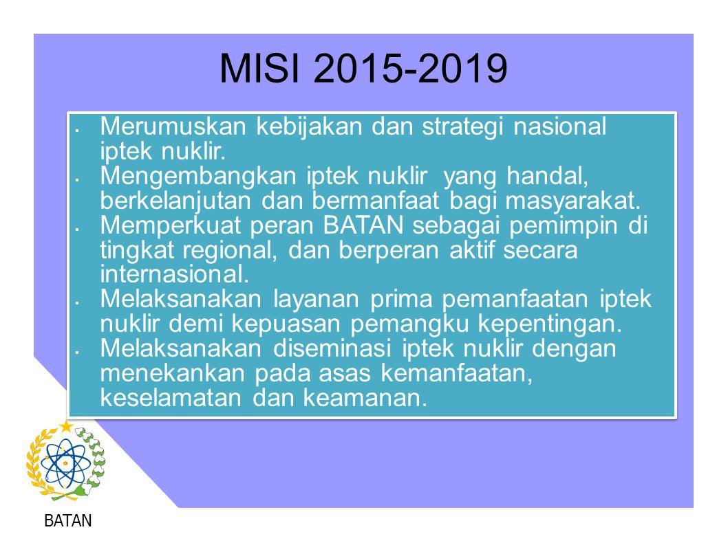 BATAN MISI 2015-2019 Merumuskan kebijakan dan strategi nasional iptek nuklir. Mengembangkan iptek nuklir yang handal, berkelanjutan dan bermanfaat bag