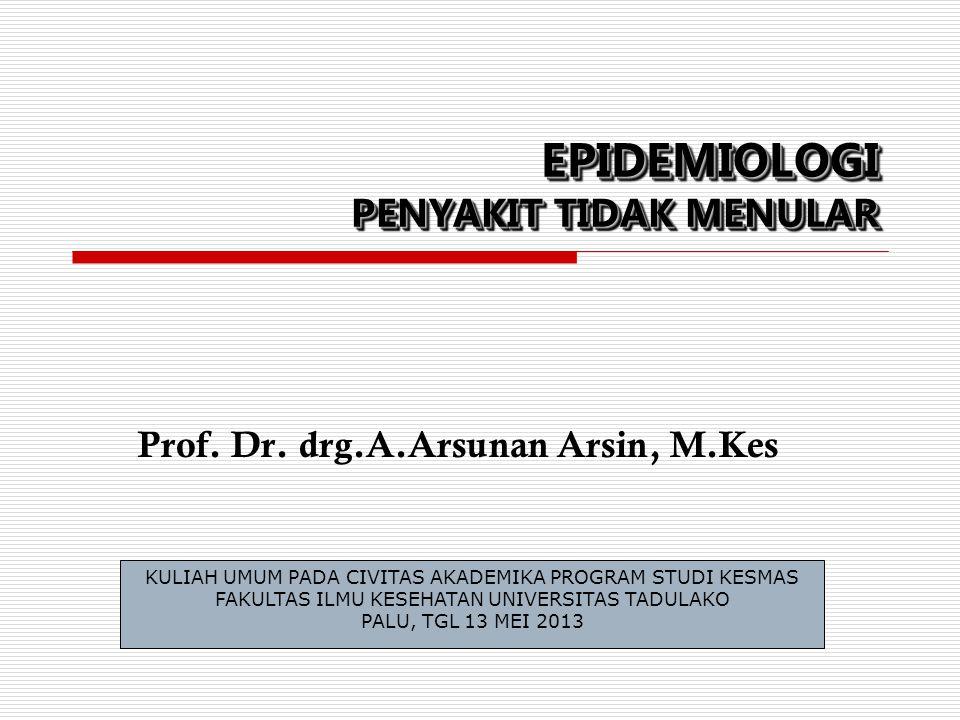 EPIDEMIOLOGI PENYAKIT TIDAK MENULAR Prof. Dr. drg.A.Arsunan Arsin, M.Kes KULIAH UMUM PADA CIVITAS AKADEMIKA PROGRAM STUDI KESMAS FAKULTAS ILMU KESEHAT