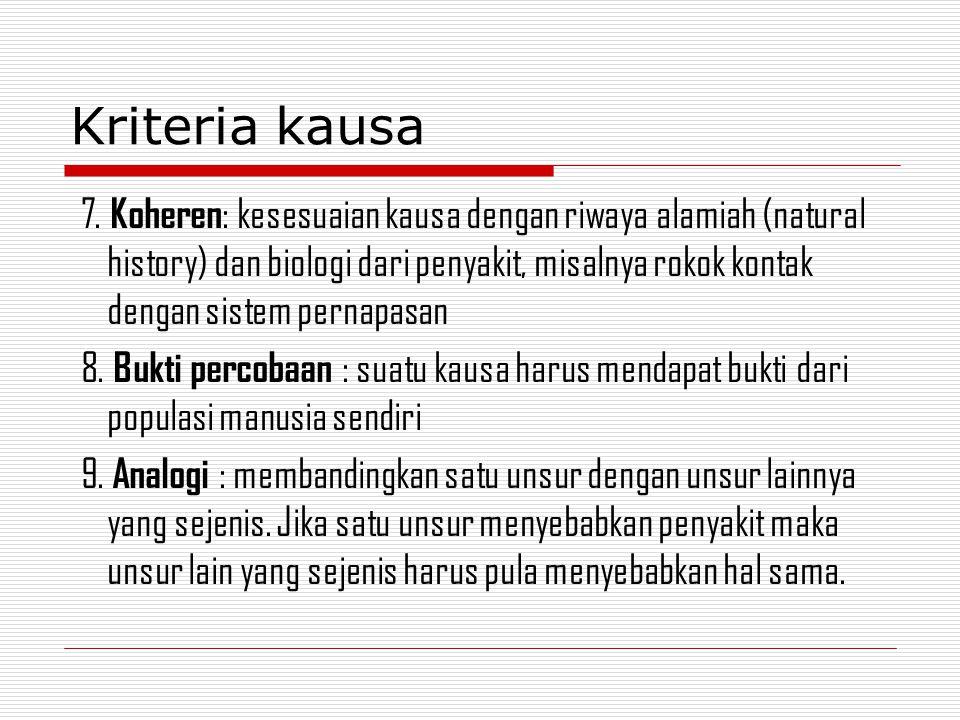 7. Koheren : kesesuaian kausa dengan riwaya alamiah (natural history) dan biologi dari penyakit, misalnya rokok kontak dengan sistem pernapasan 8. Buk