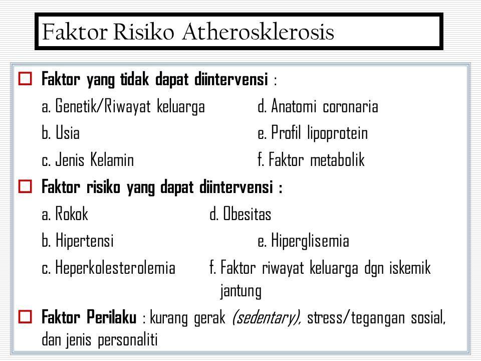  Faktor yang tidak dapat diintervensi : a. Genetik/Riwayat keluargad. Anatomi coronaria b. Usiae. Profil lipoprotein c. Jenis Kelaminf. Faktor metabo