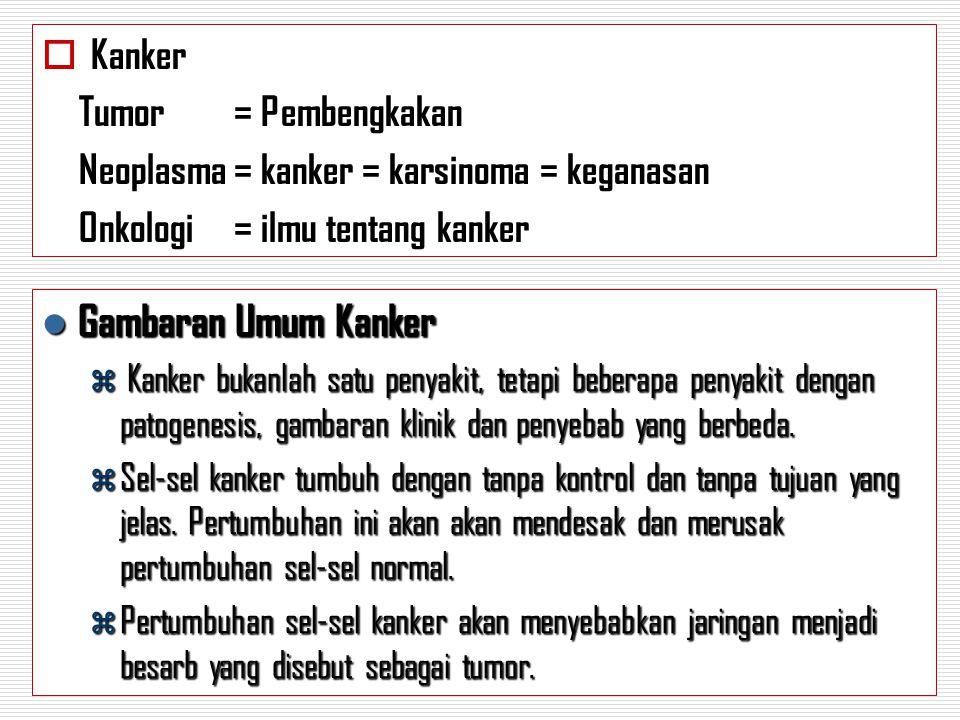  Kanker Tumor= Pembengkakan Neoplasma= kanker = karsinoma = keganasan Onkologi= ilmu tentang kanker Gambaran Umum Kanker Gambaran Umum Kanker  Kanke